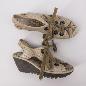 Fly London : Leather Lace Up Wedge Sandals Size 36